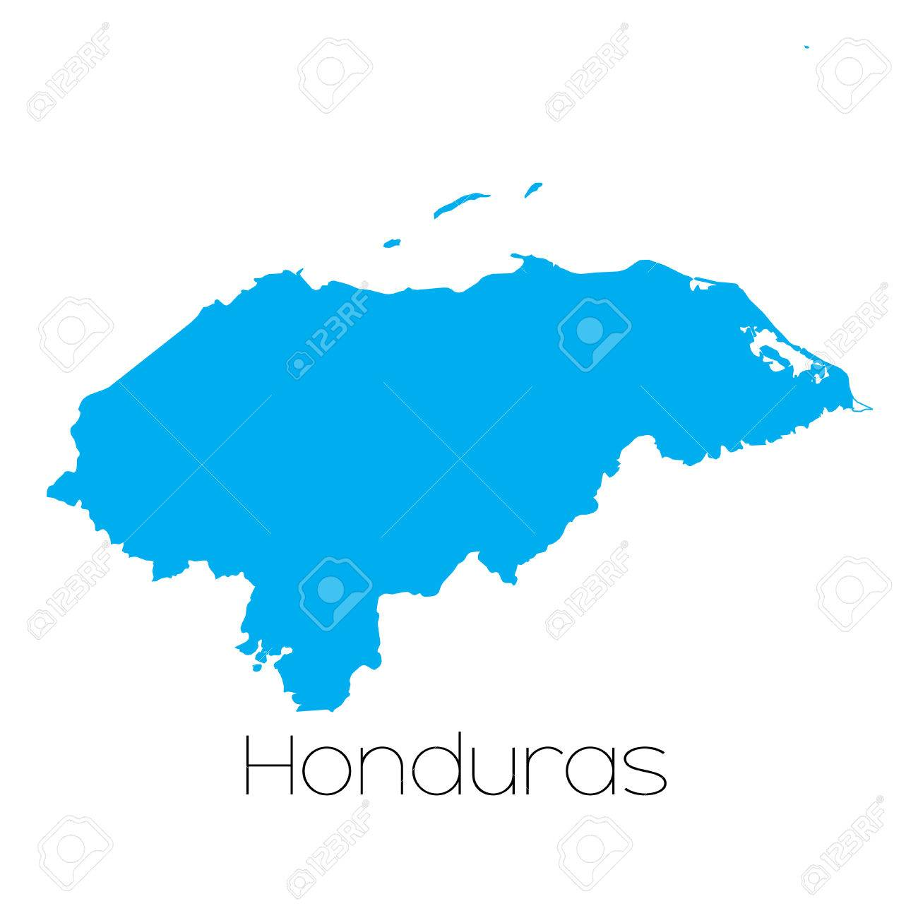 A Blue shape with name of the country of Honduras Stock Photo - 44920375