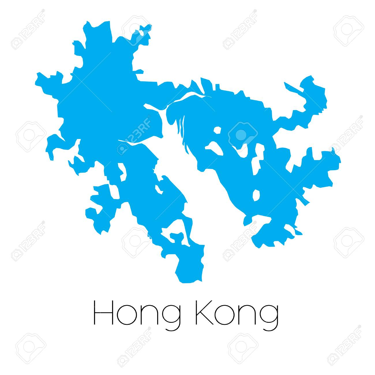 A Blue shape with name of the country of Hong Kong Stock Vector - 44921239