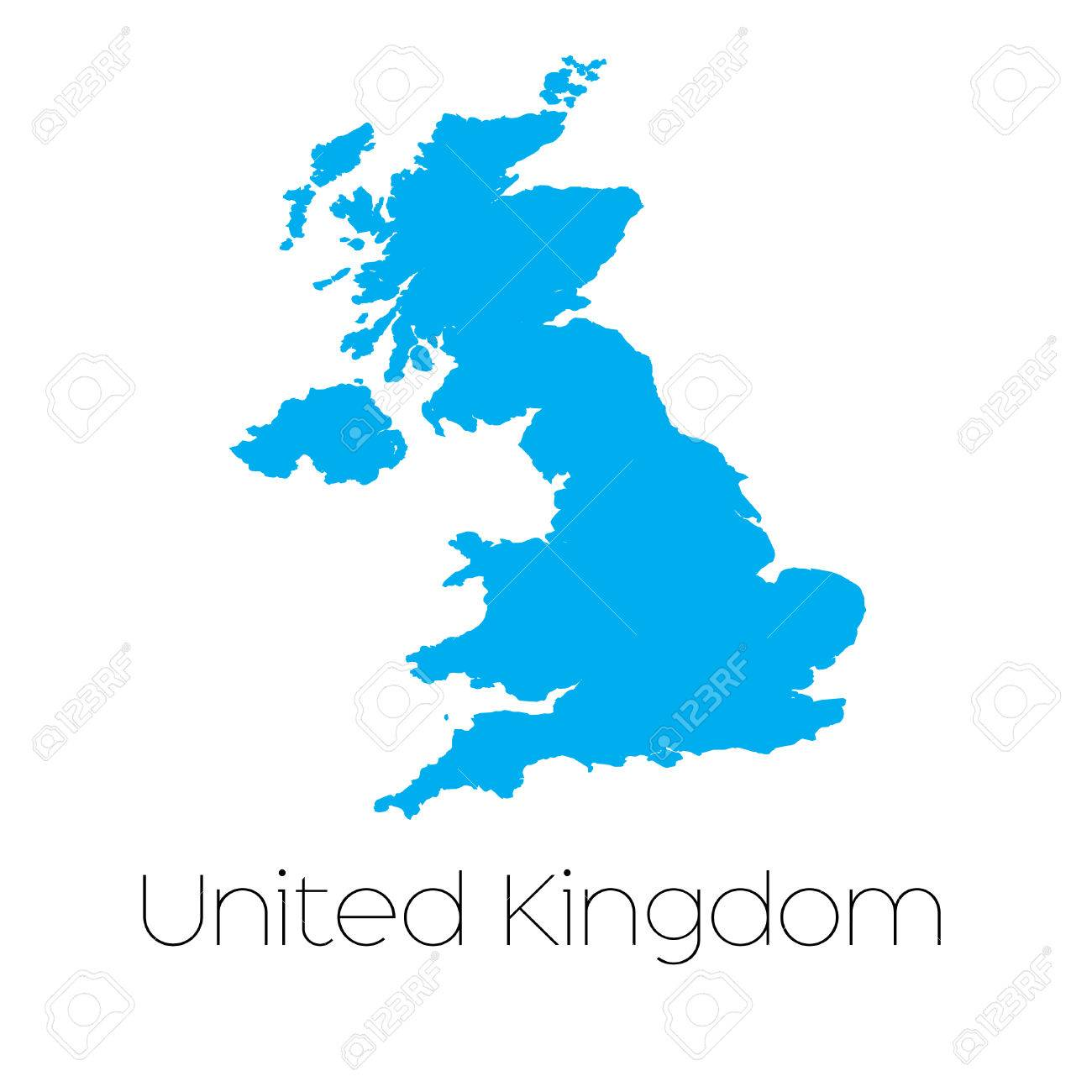 A Blue shape with name of the country of United Kingdom Stock Vector - 44921809