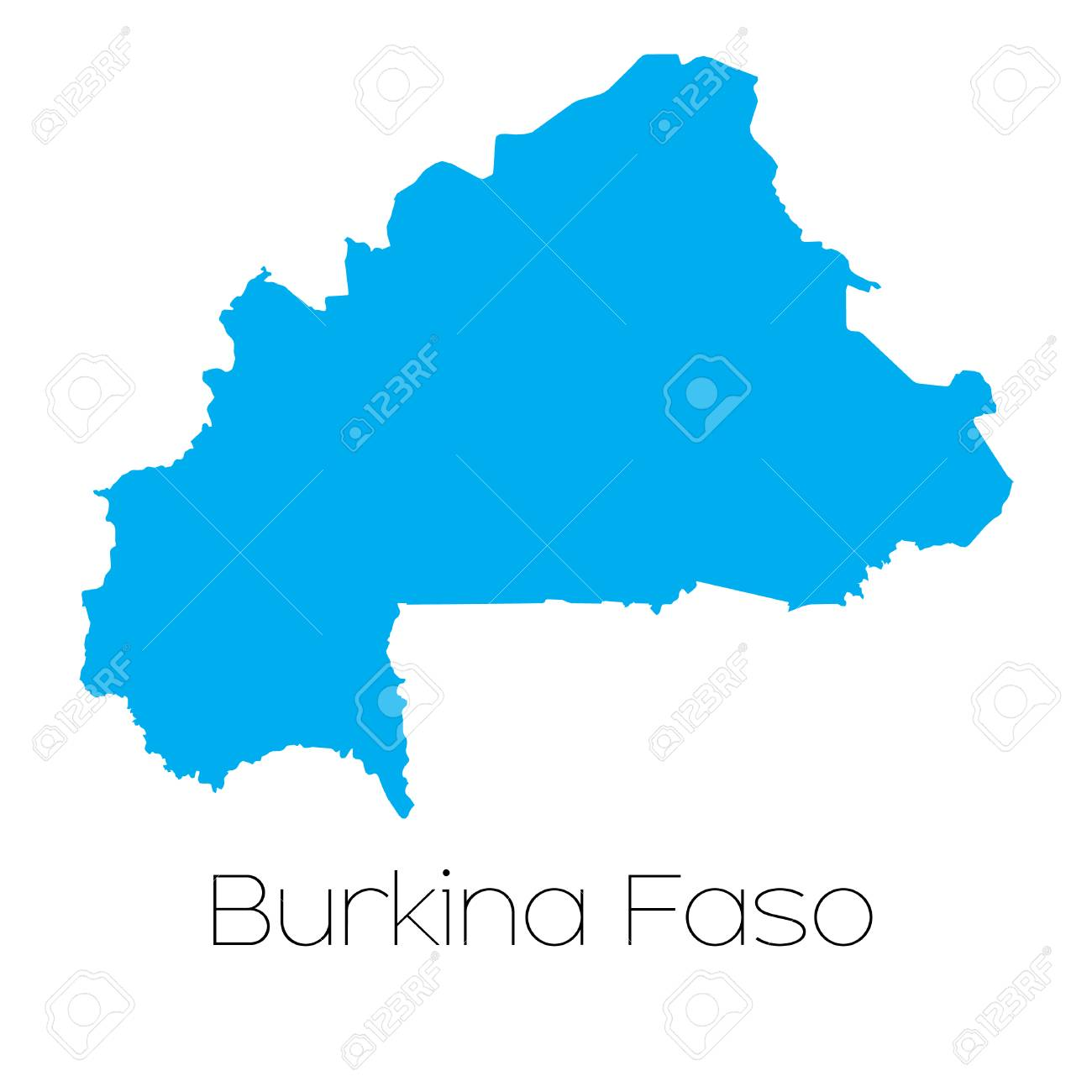 A Blue shape with name of the country of Burkina Faso Stock Vector - 44922219