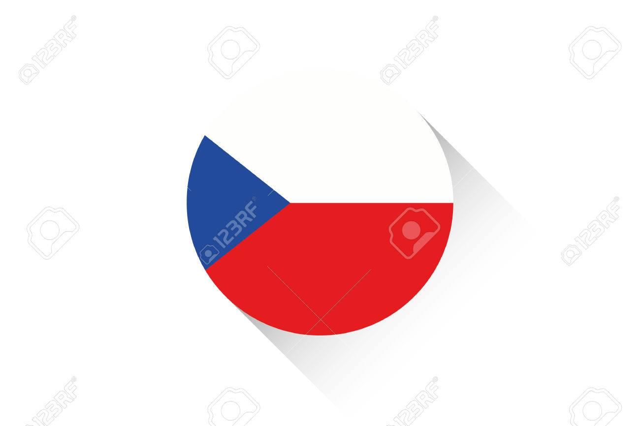 Drapeau Rond un drapeau rond avec l'ombre de la république tchèque clip art