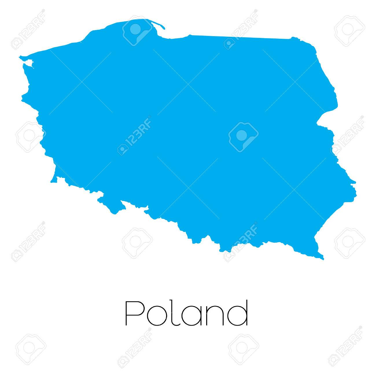A Blue shape with name of the country of Poland Stock Vector - 45064020