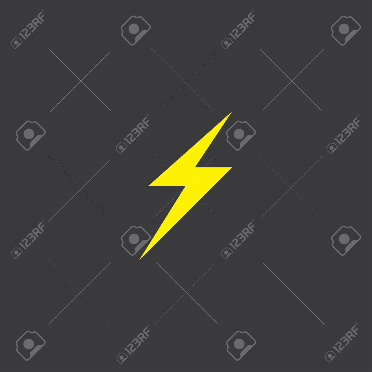 A Yellow Icon Isolated On A Grey Background Lightning Bolt Stock Photo Picture And Royalty Free Image Image 45611228