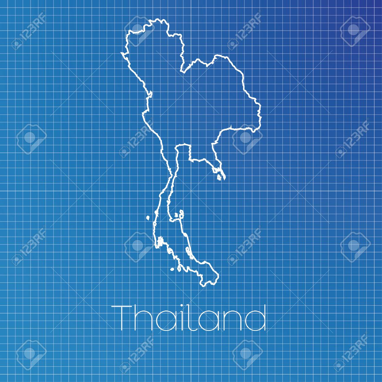 A Schematic Outline Of The Country Of Thailand Stock Photo, Picture ...