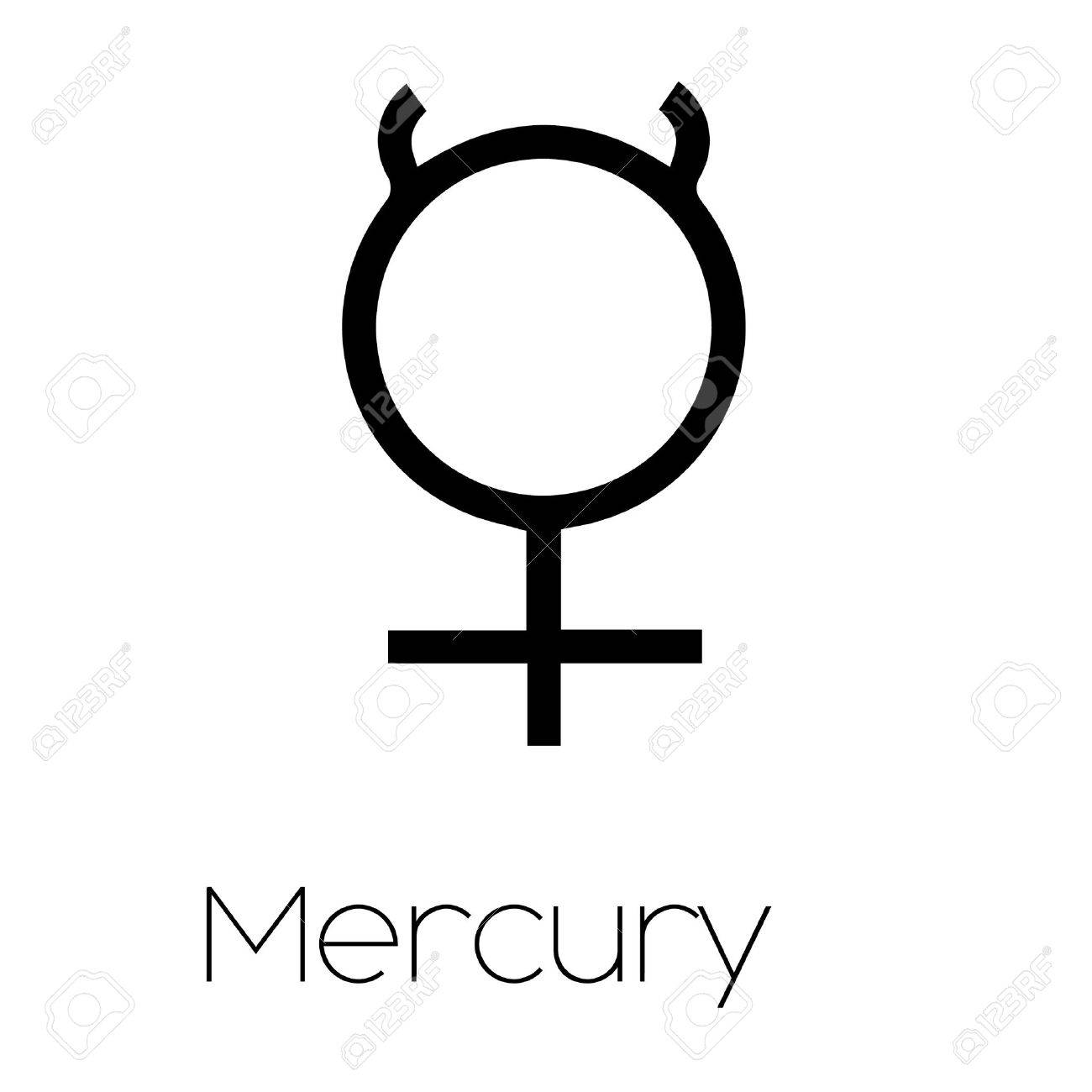 Illustrated Planet Symbols Mercury Stock Photo Picture And