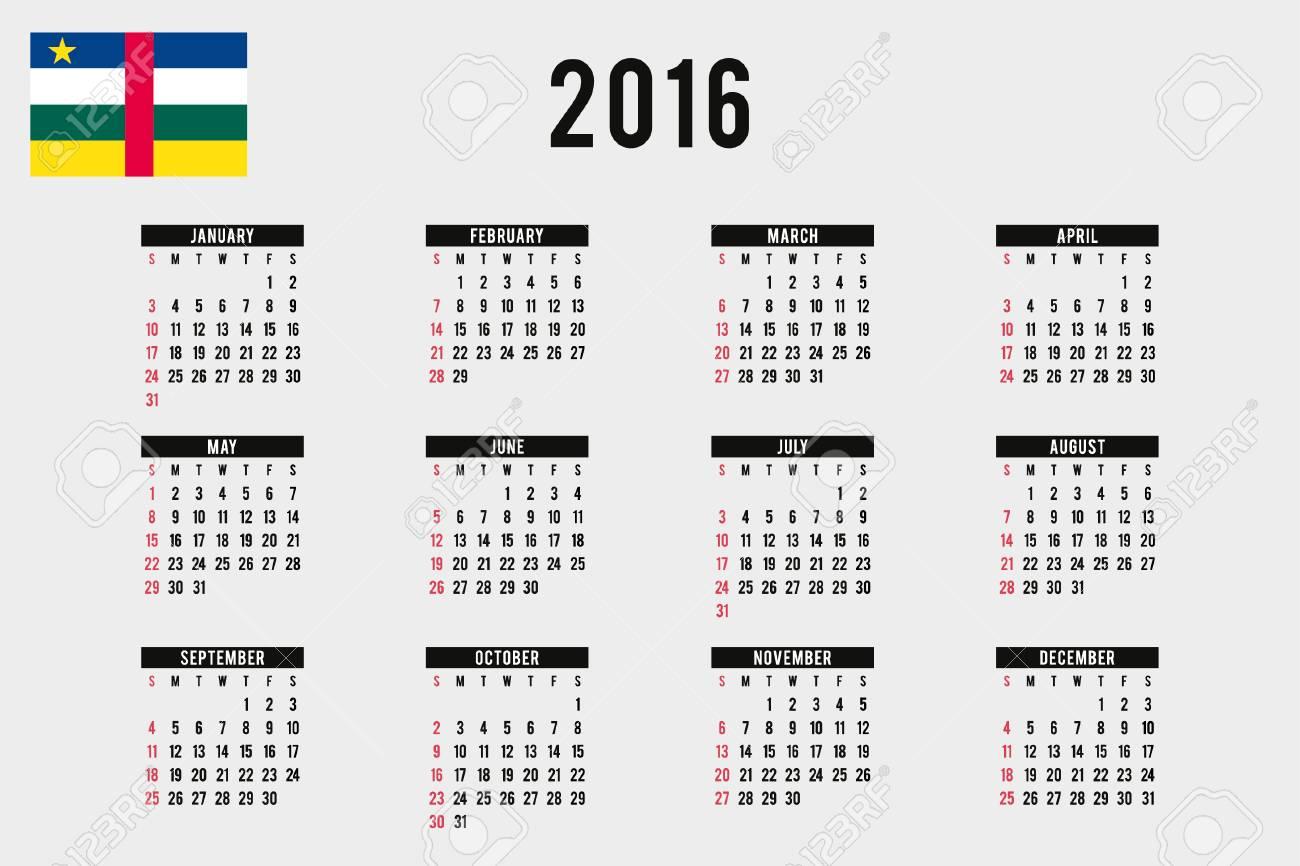 Calendario Repubblica.Un 2016 Calendario Con La Bandiera Della Repubblica Centrafricana