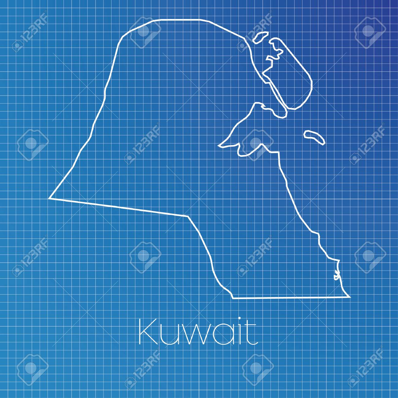 A Schematic Outline Of The Country Of Kuwait Stock Photo, Picture ...
