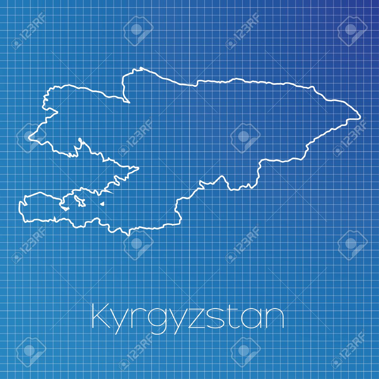 A Schematic Outline Of The Country Of Kyrgyzstan Stock Photo ...