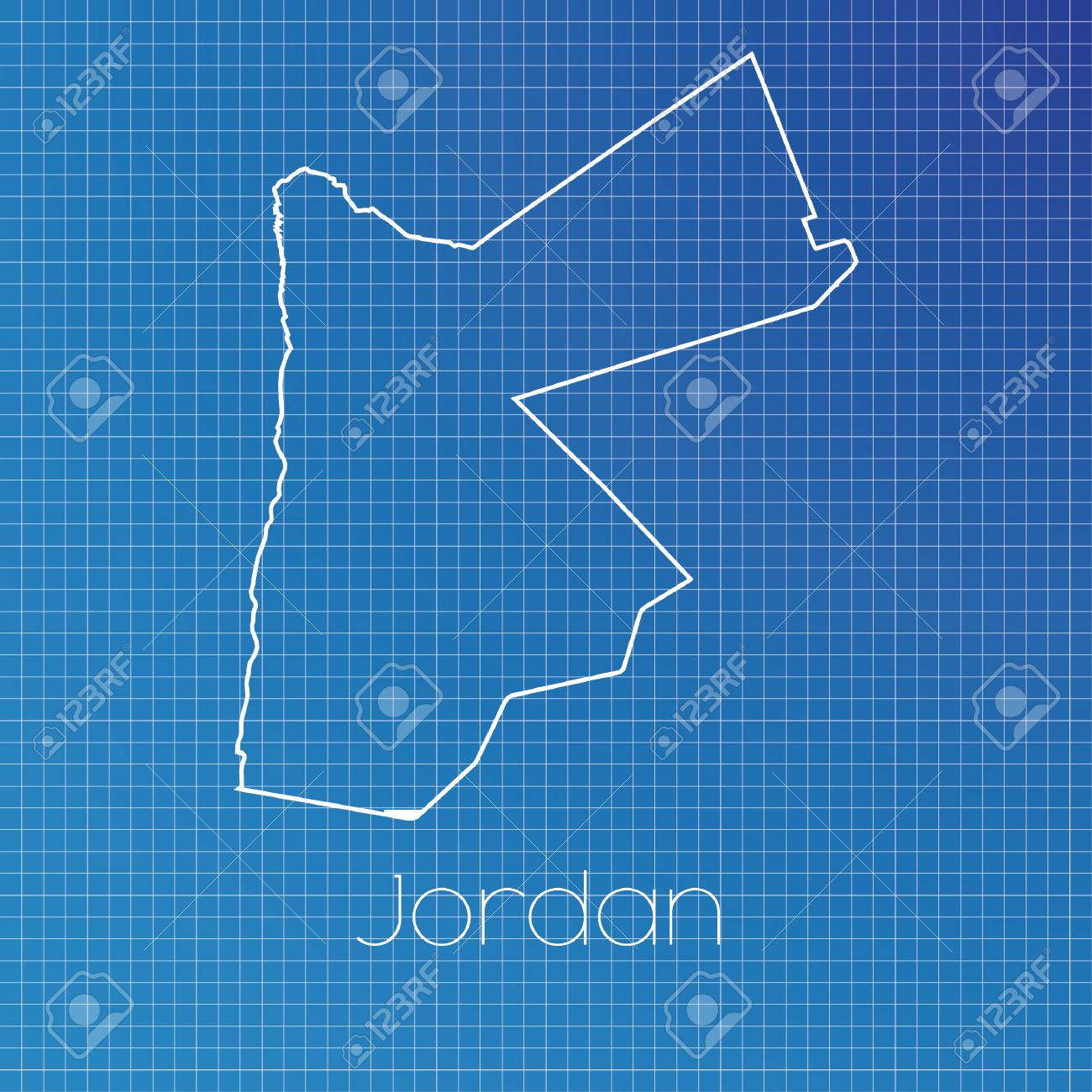 A Schematic Outline Of The Country Of Jordan Stock Photo, Picture ...