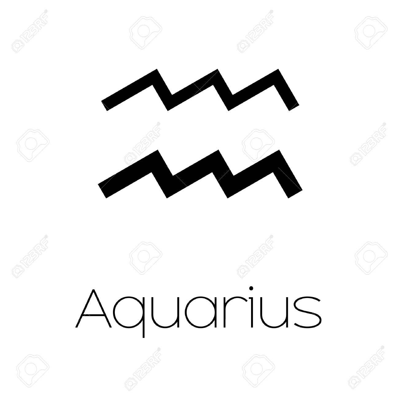 Illustrated Zodiac Symbol Aquarius Stock Photo Picture And