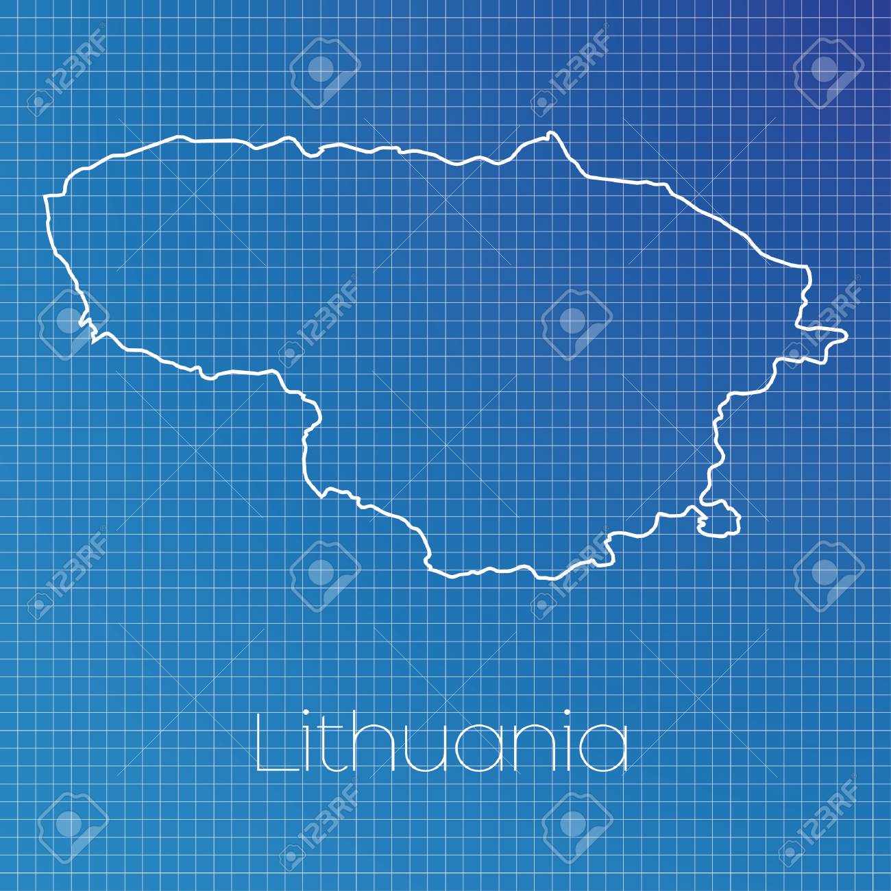 A Schematic Outline Of The Country Of Lithuania Stock Photo, Picture ...