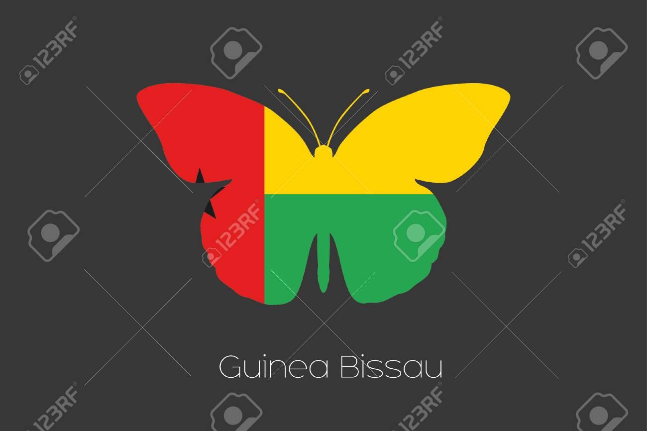 ギニアビサウの国旗と蝶 ロイヤ...