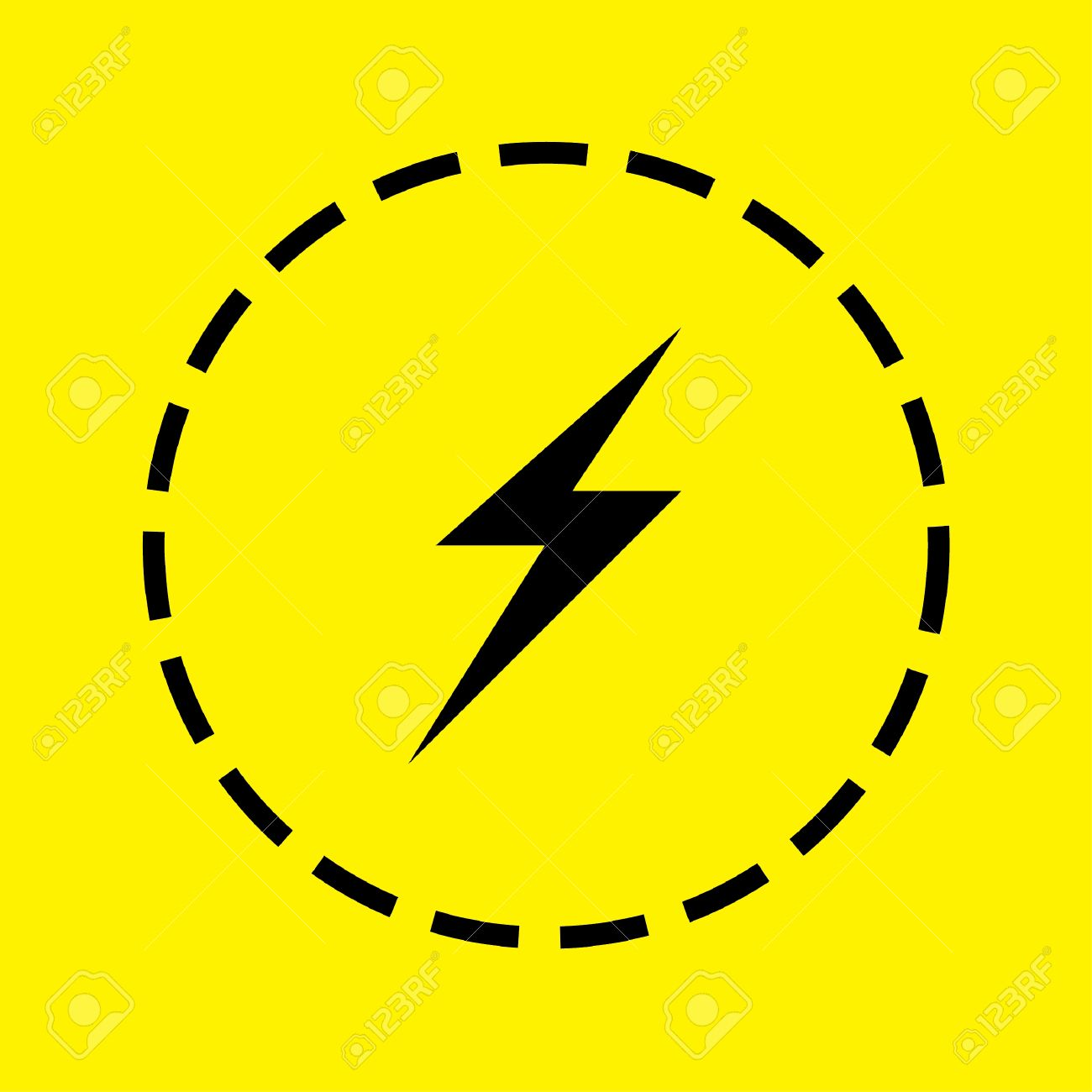 A Black Icon Isolated On A Yellow Background Lightning Bolt Stock Photo Picture And Royalty Free Image Image 49089039