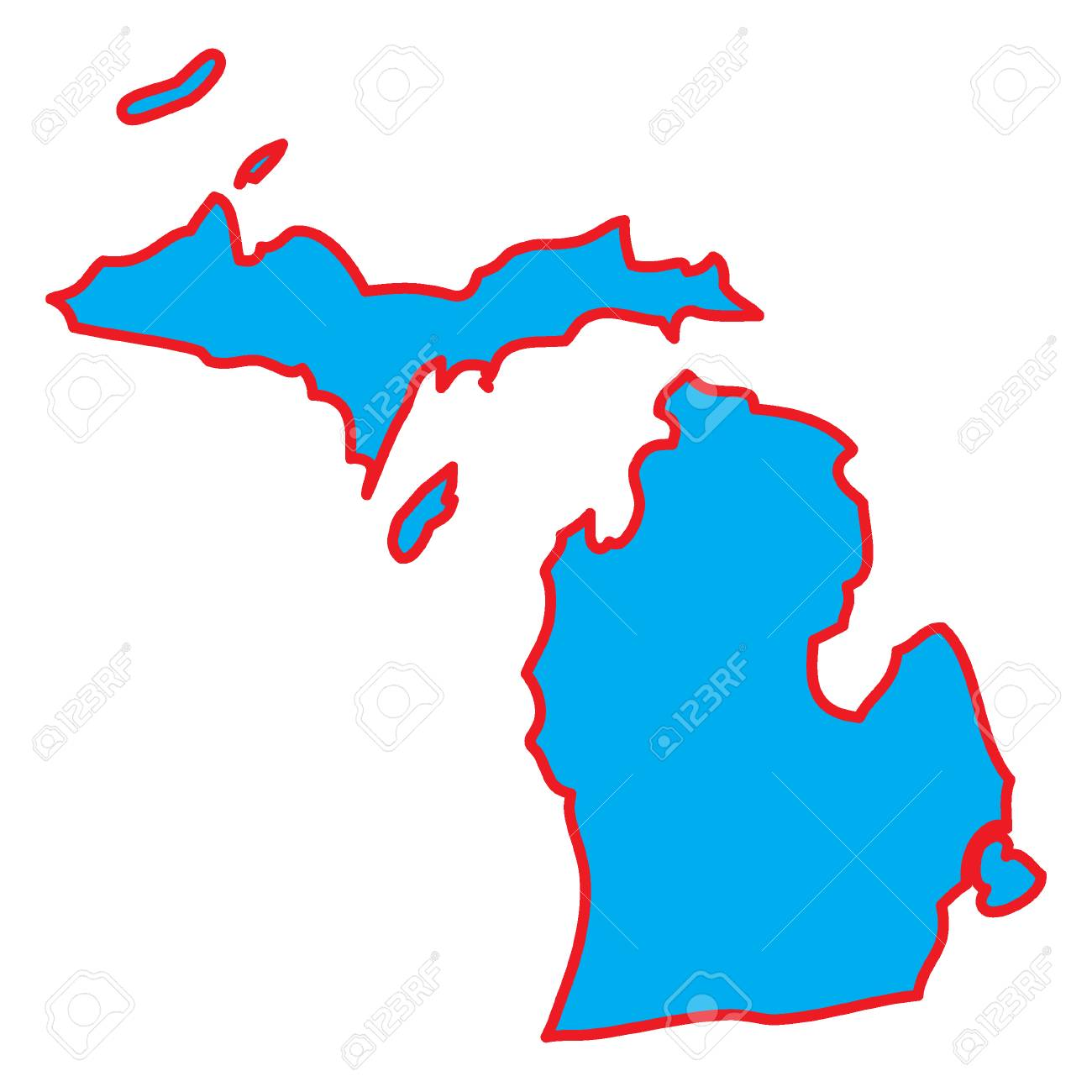 A Map Of The The State Michigan Stock Photo, Picture And Royalty ...