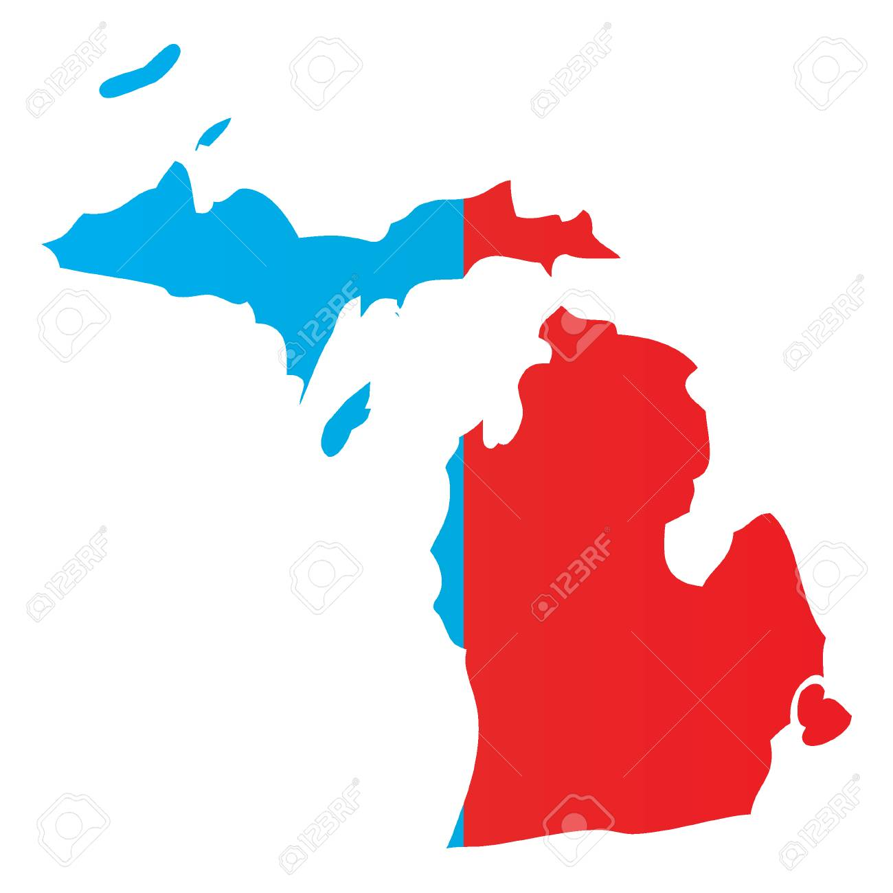 The State Of Michigan Map.A Map Of The The State Michigan Stock Photo Picture And Royalty