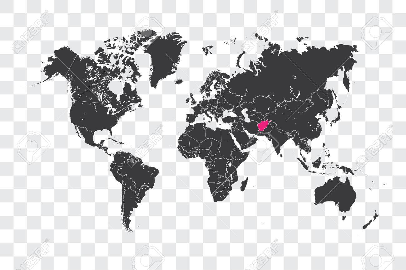 illustrated world map with the selected country shape of afghanistan stock photo 72458202