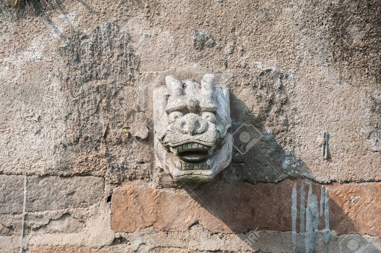 Stone Dragon Head Water Spout On A Suzhou Canal, China Stock Photo ...