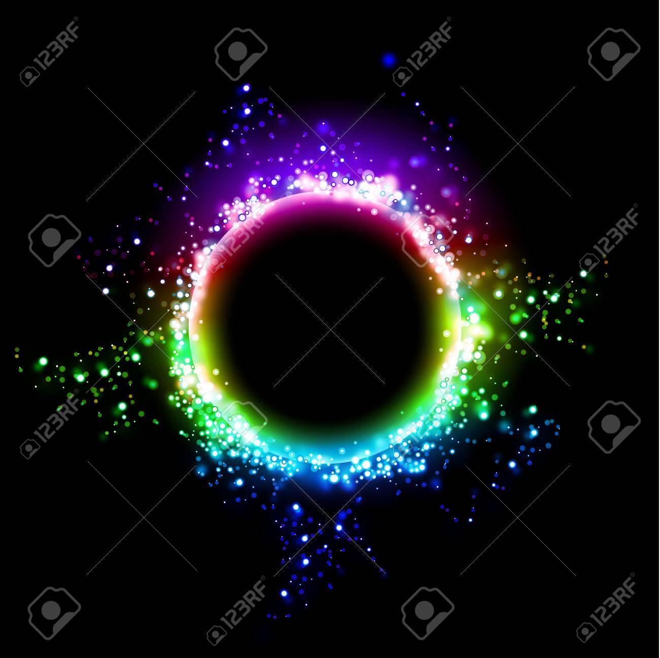 Fondo Oscuro Con Marco Redondo Brillante. Diseño Cósmico Agujero ...