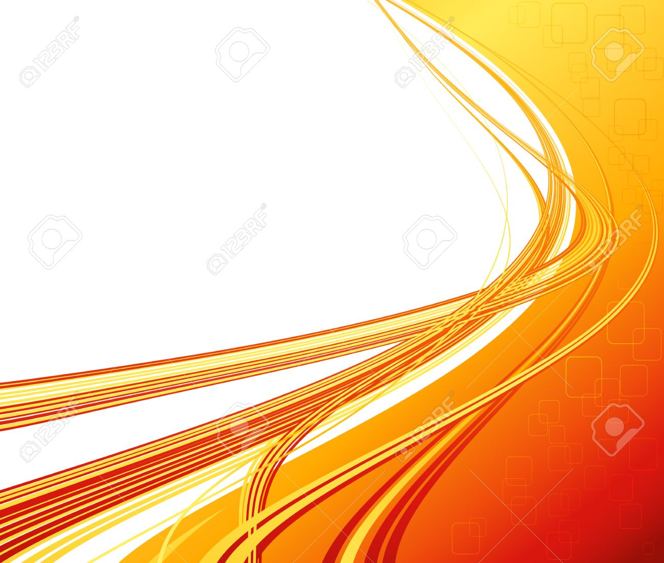 Vector Abstract Orange Color Curved Lines Background Technology