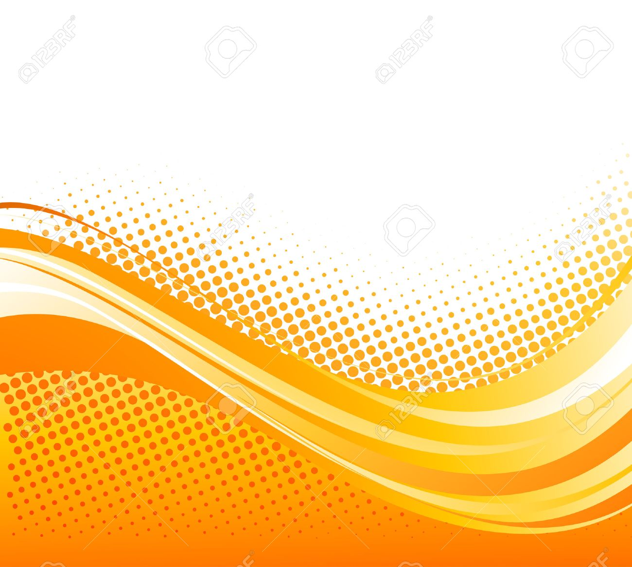 Abstract Orange Color Curved Lines Background With Halftone