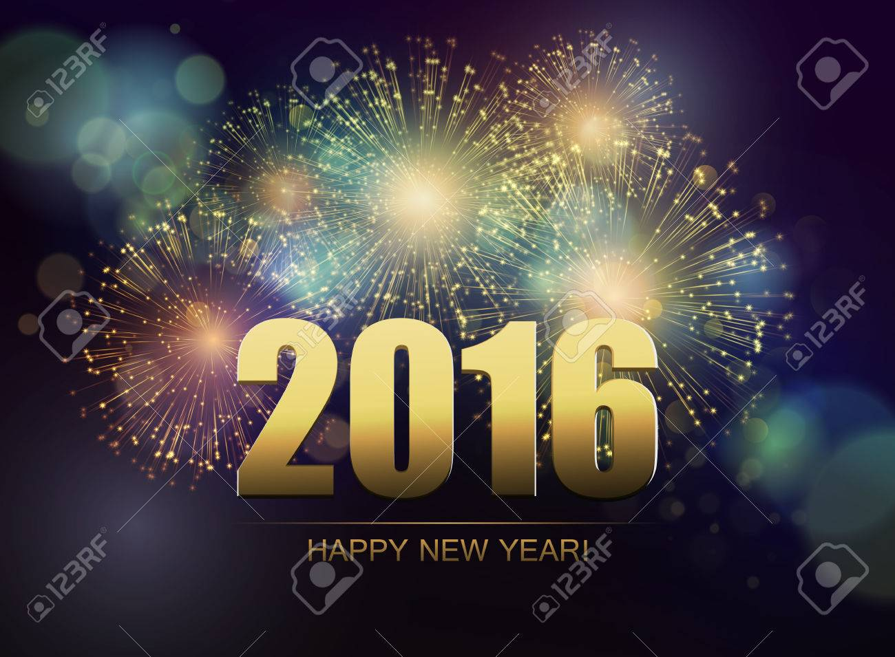 vector holiday fireworks background happy new year 2016 royalty