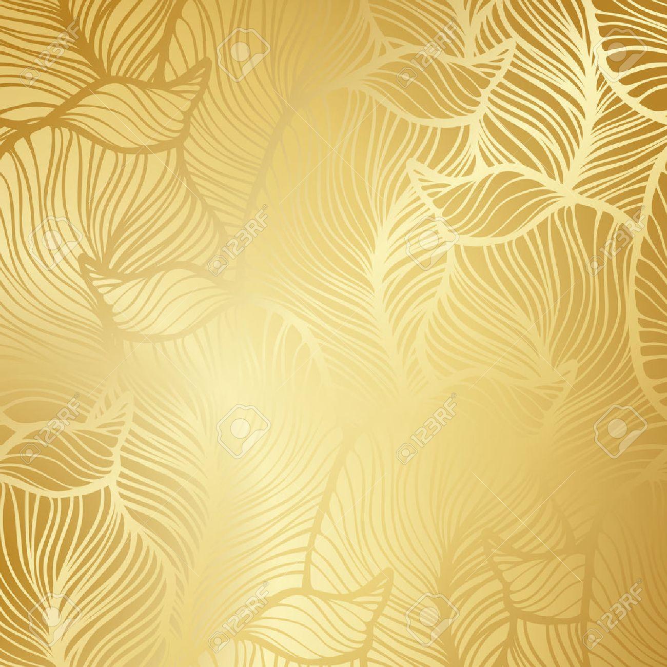 Fond Doré luxe papier doré. vintage floral pattern vecteur de fond. clip art