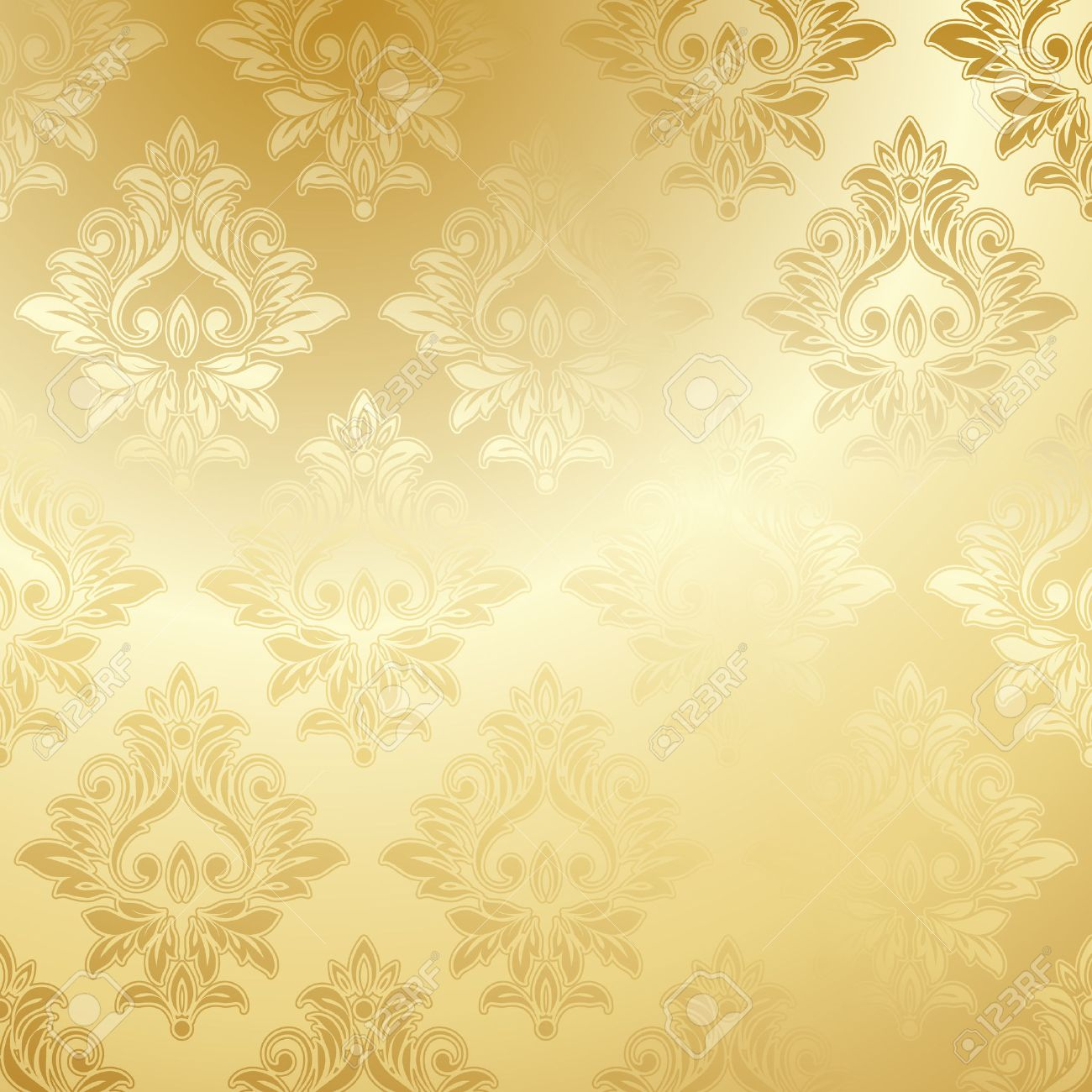 Luxury Golden Wallpaper Vintage Floral Pattern Vector Background Stock