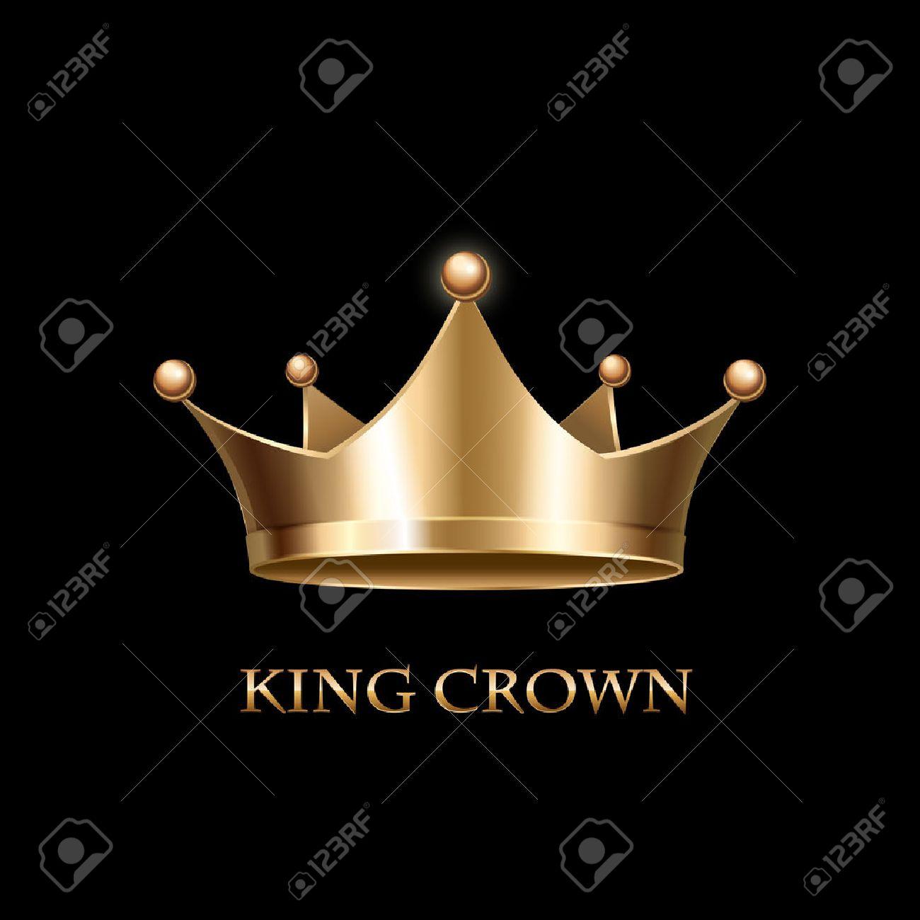 Gold Crown on black Background. Vector Illustration - 45622550