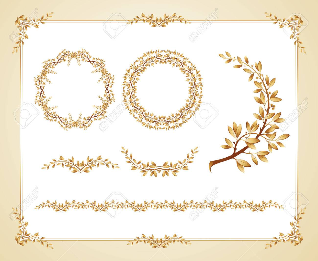 Vector Illustration Certificate Template With Laurel Design Elements