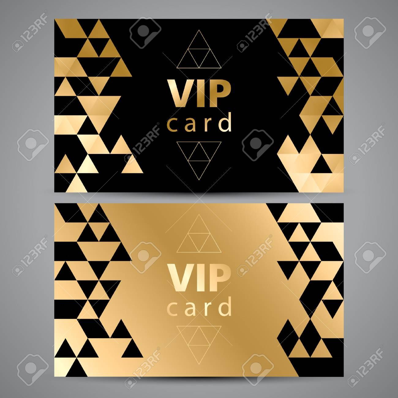 Tarjetas De Invitación Prima Vectorial Vip Diseño Negro Y Dorado Triángulo Patrones Decorativos