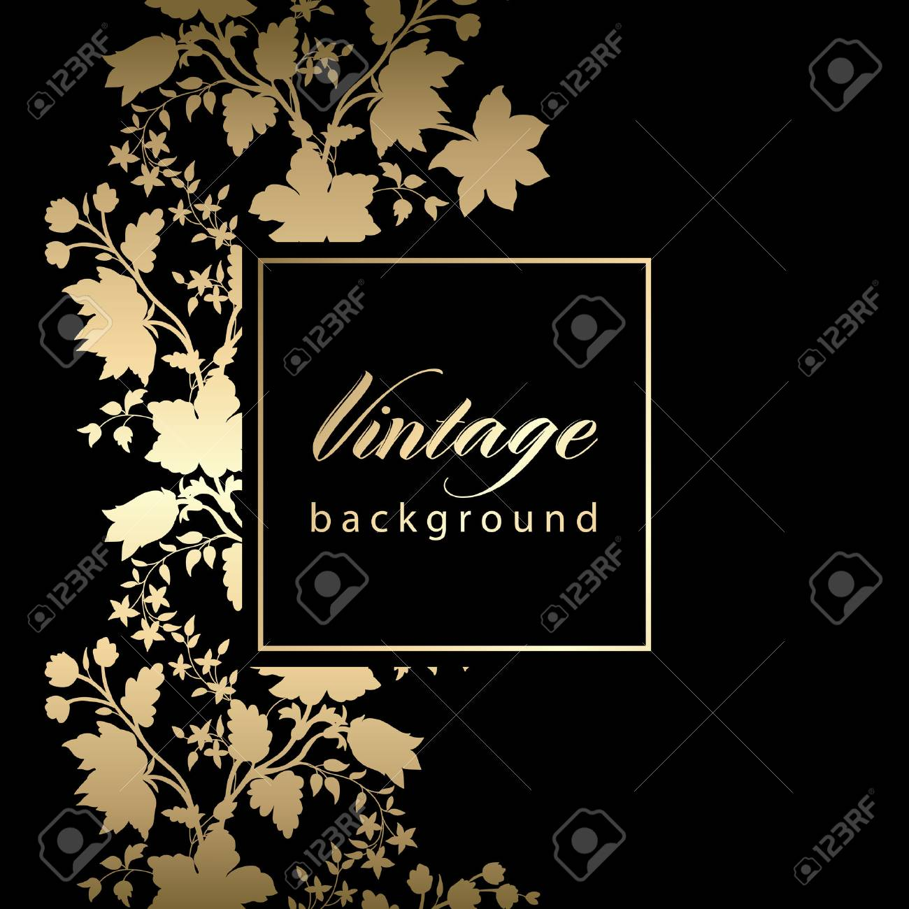 Vector Vintage Black Invitation Card With Gold Floral Pattern