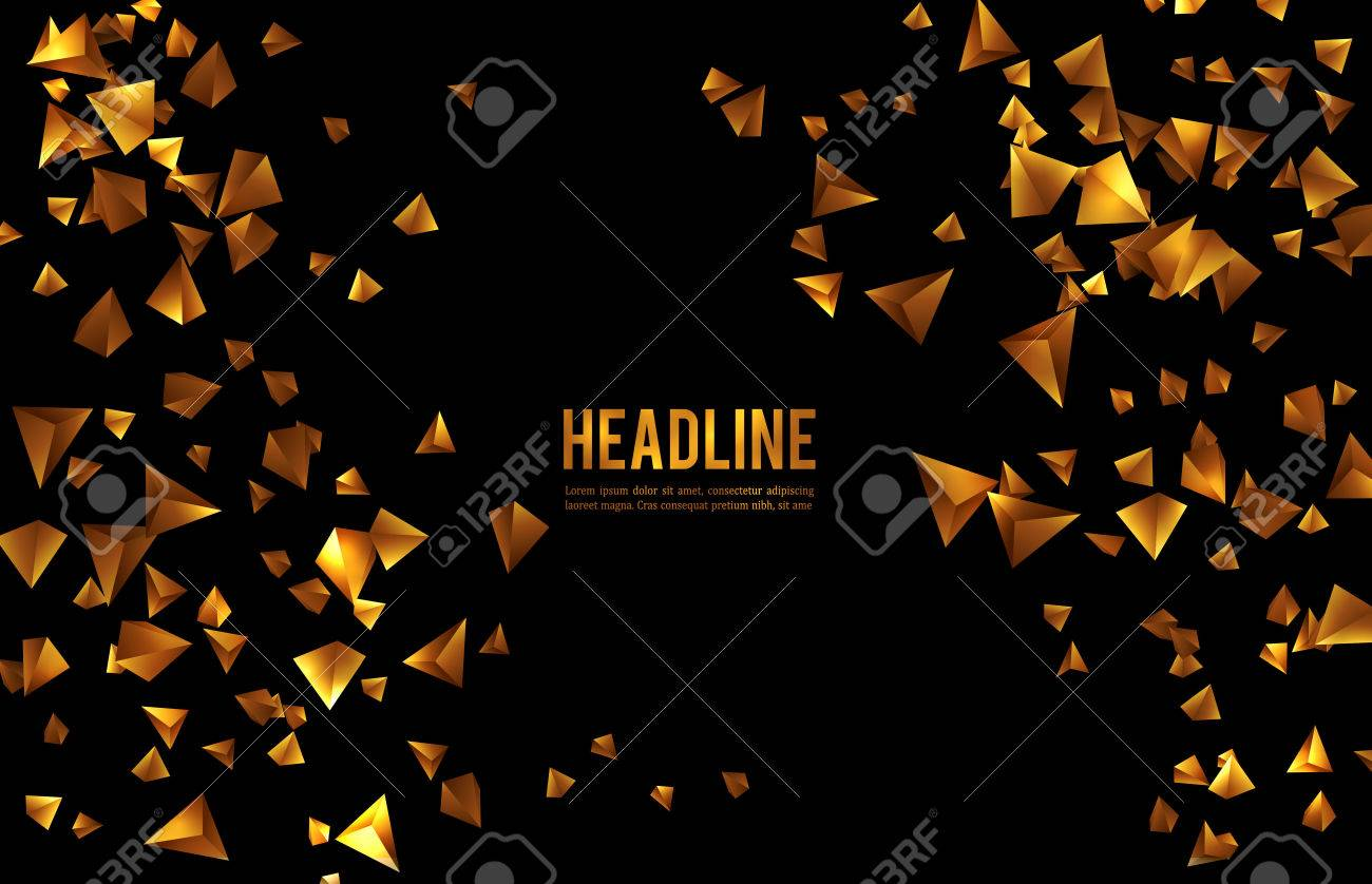 Abstract 3d chaotic particles. Gold Sci-fi pyramids. Abstract form Low poly background. - 50904576