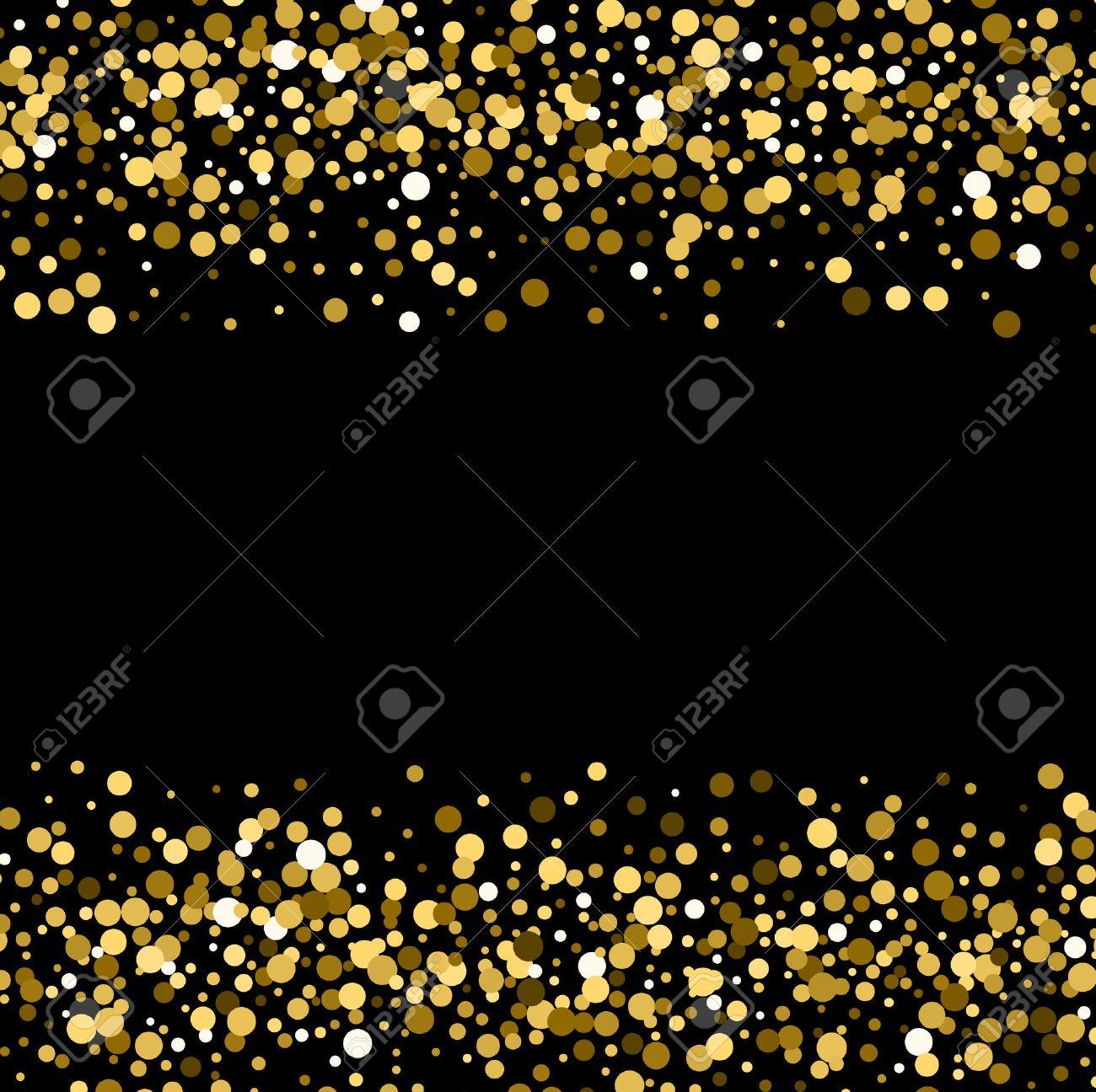 Gold sparkles on black background. Gold glitter background. - 51564131