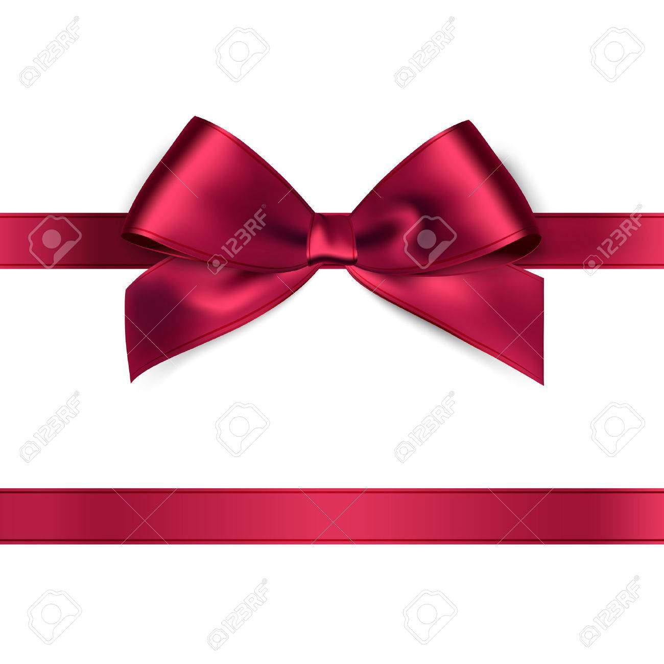Shiny red satin ribbon on white background. Vector - 51564512