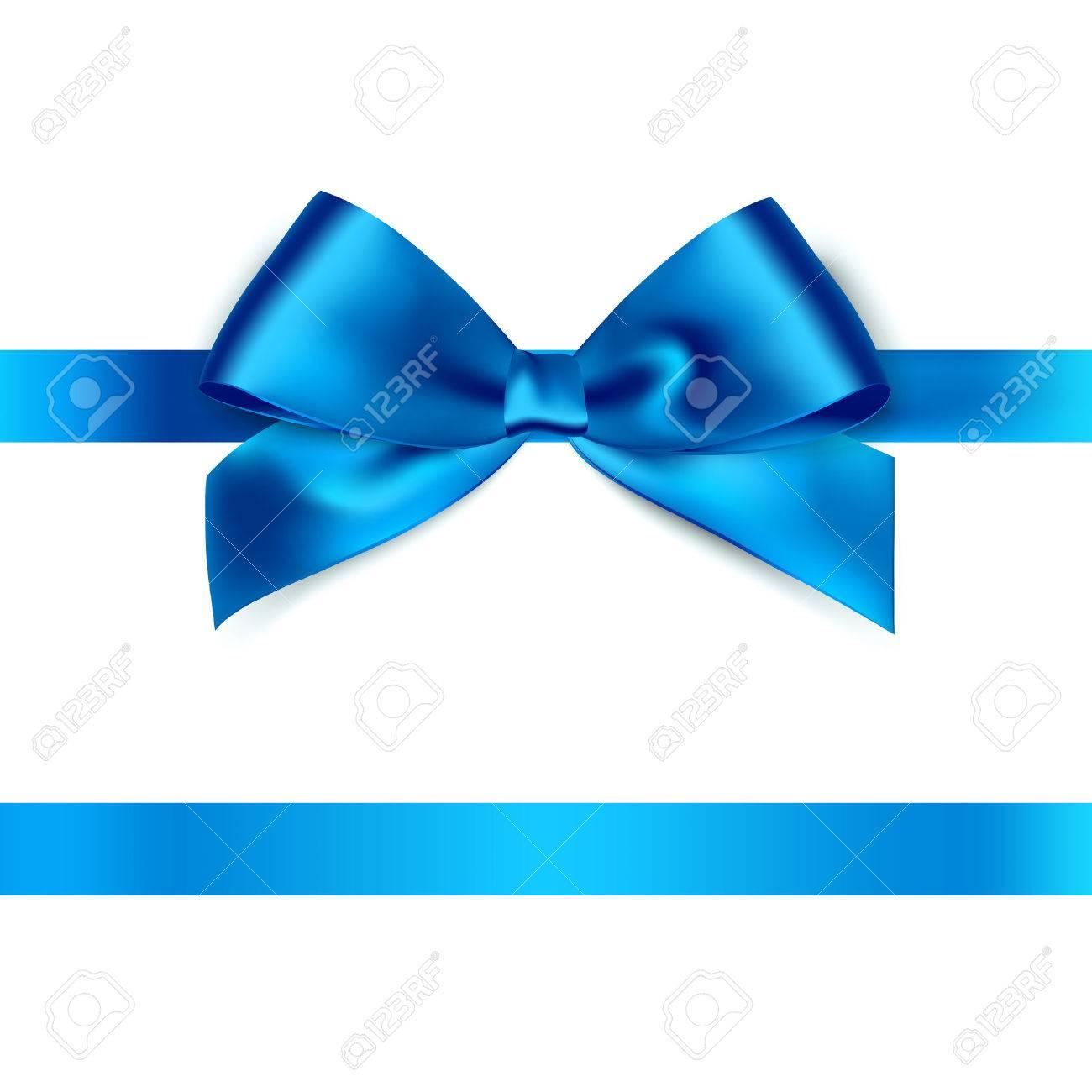 Shiny blue satin ribbon on white background. Vector - 51754272