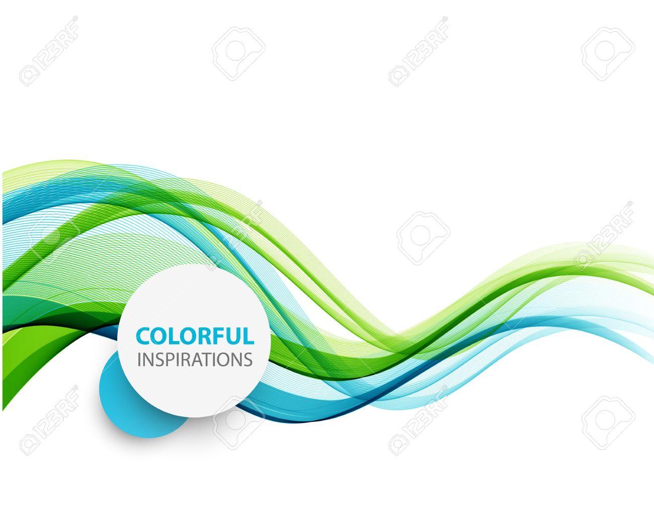 Abstract vector background, blue and green waved lines for brochure, website, flyer design. illustration eps10 - 51754453