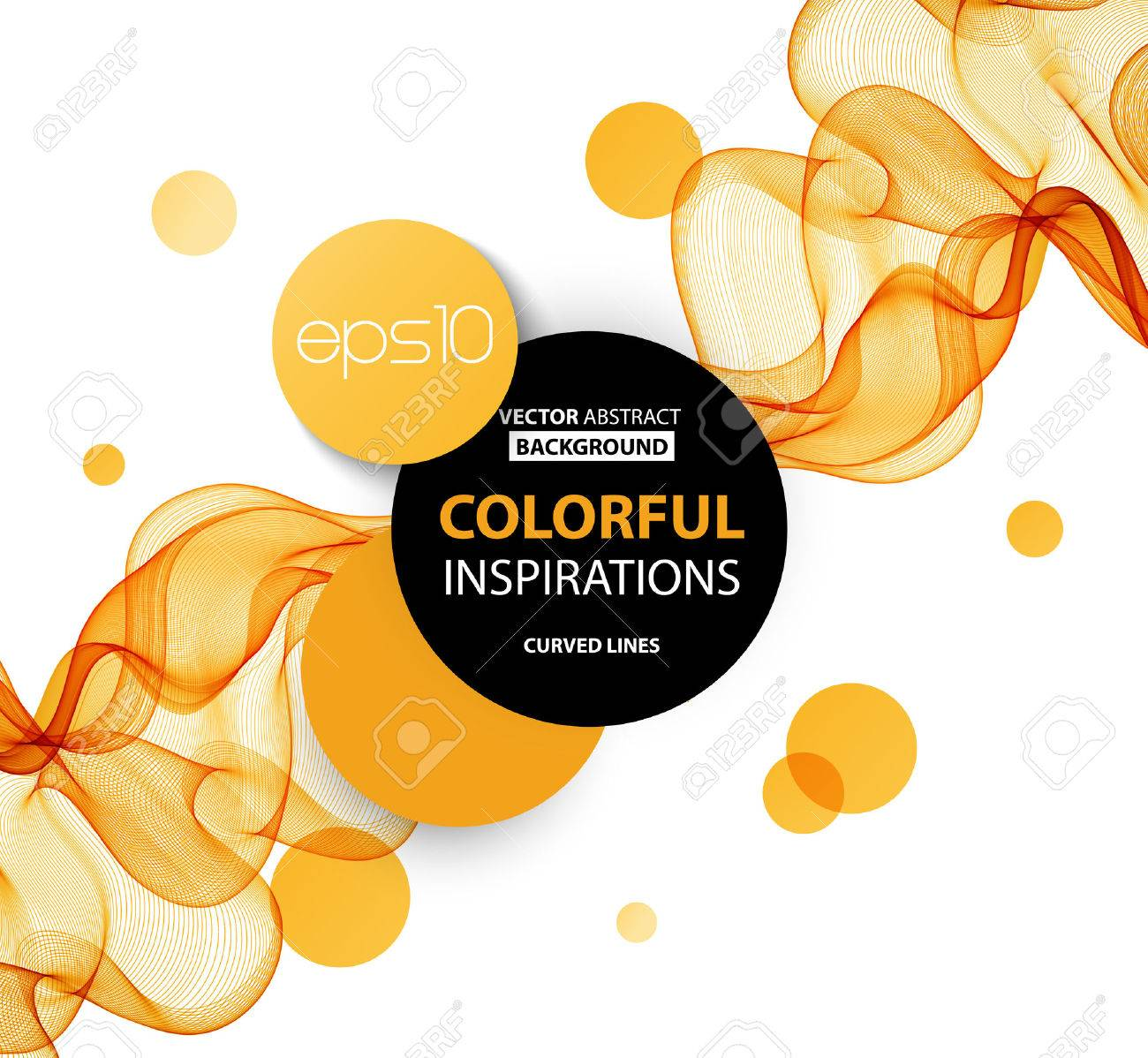 Abstract orange wavy lines. Colorful vector background - 51754463