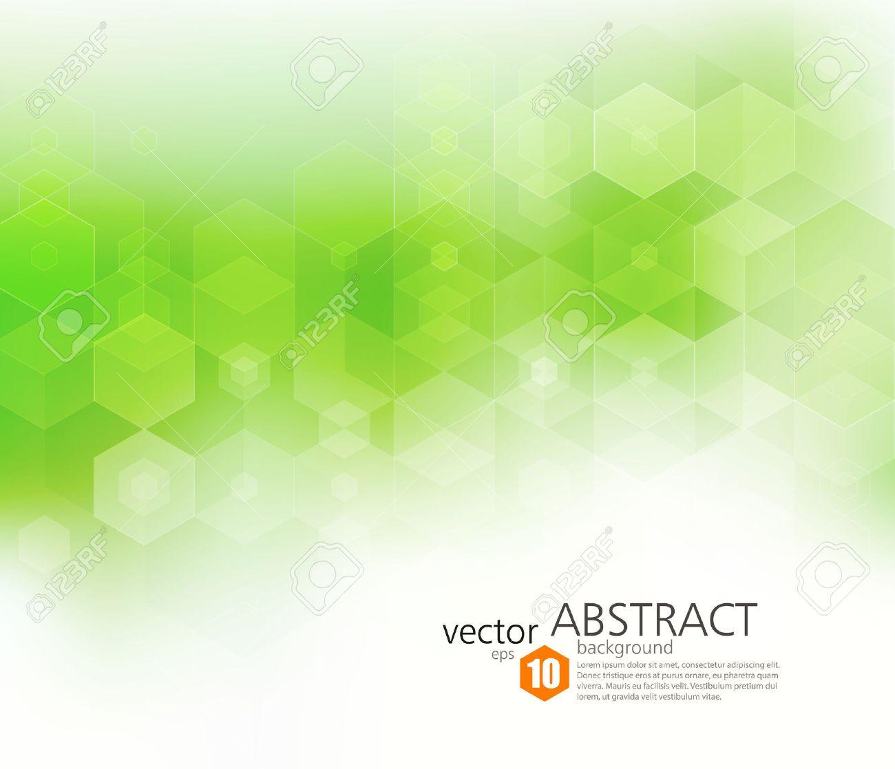 Vector Abstract geometric background. Template brochure design. Green hexagon shape - 51754487