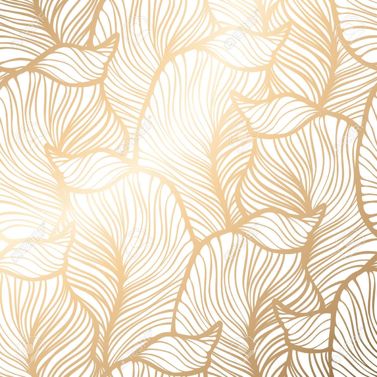 Damask seamless floral pattern. Royal wallpaper. Vector illustration. EPS 10. Gold leaf background - 52422466