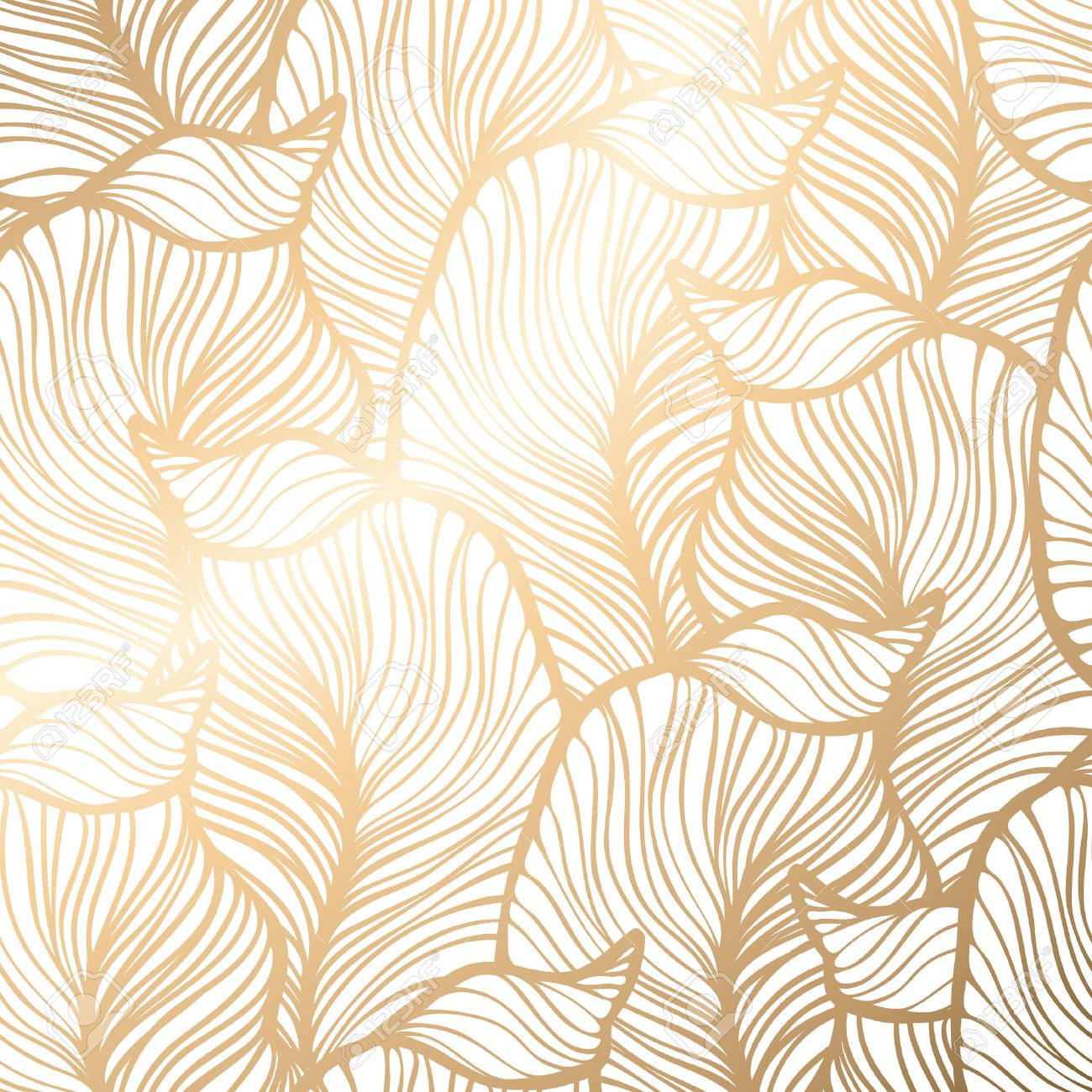Damask Seamless Floral Pattern Royal Wallpaper Vector Illustration EPS 10 Gold Leaf