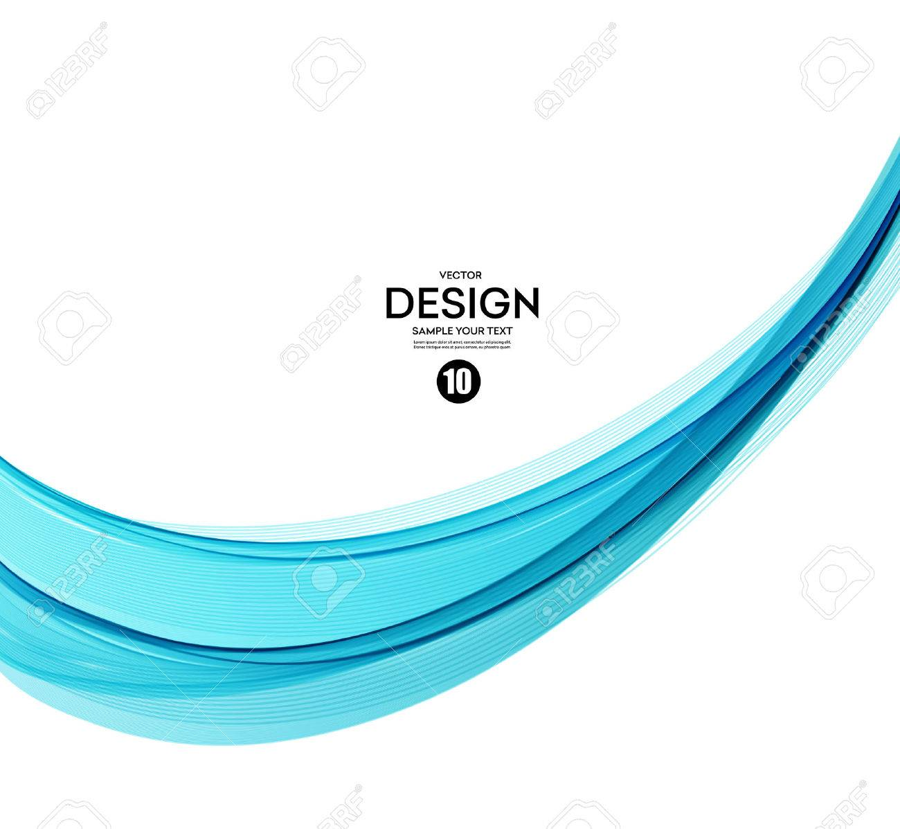 Abstract vector background, blue transparent waved lines. - 53407090