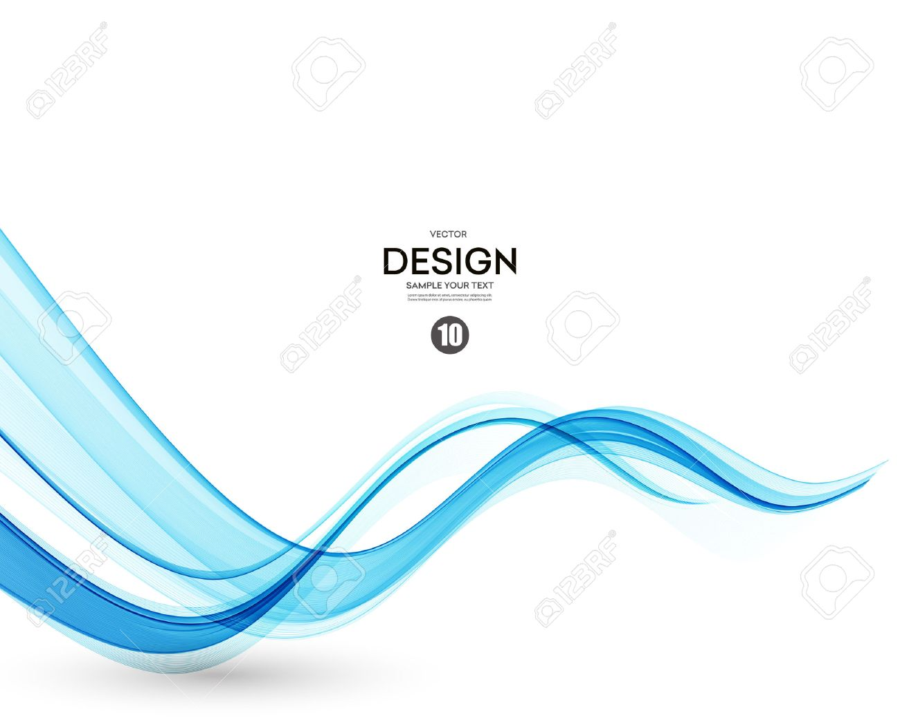 Abstract vector background, blue transparent waved lines. - 53407904