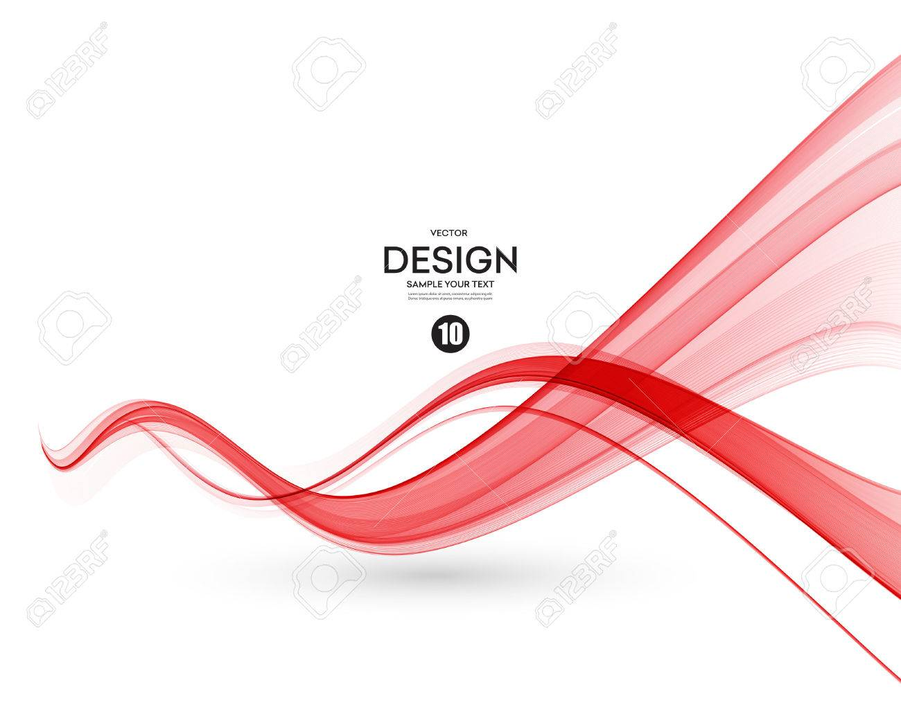 Abstract smooth color wave vector. Curve flow red motion illustration - 53407924