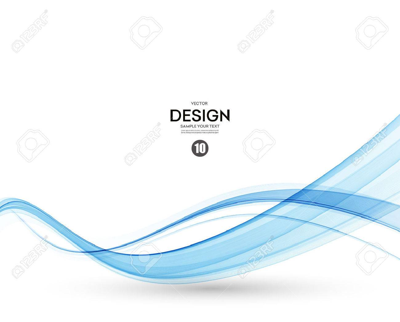 Abstract vector background, blue transparent waved lines. - 53407908