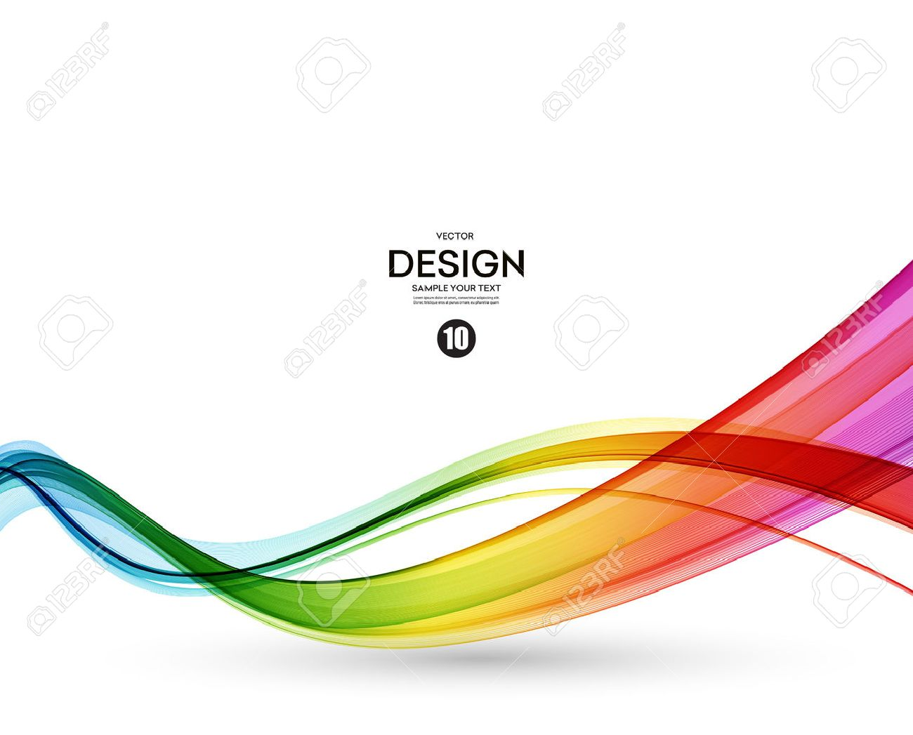 Abstract wave vector background, rainbow waved lines. - 53407910