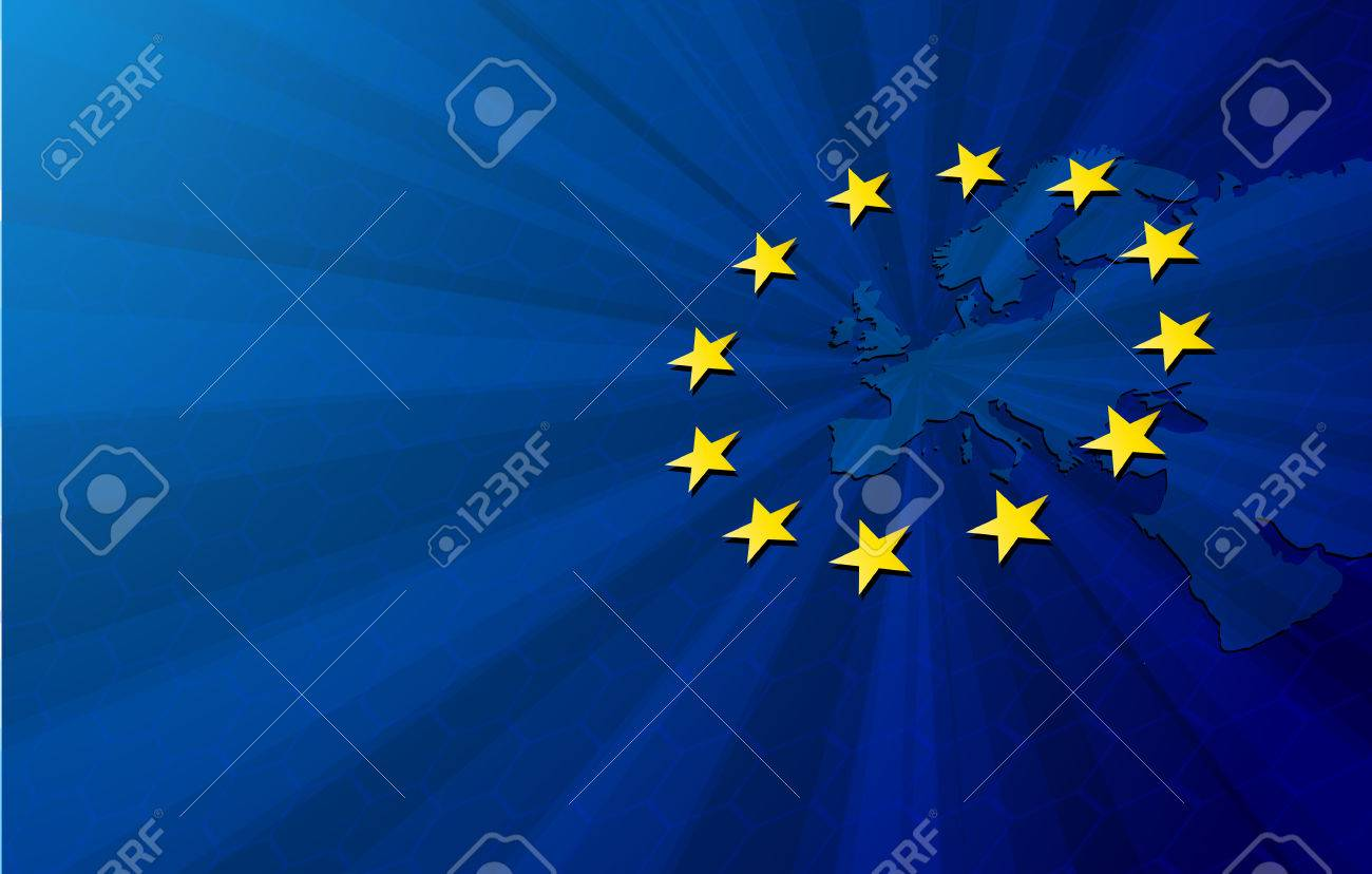 European Union. Vector Europe map with European union flag. Blue background and yellow stars. - 53407918