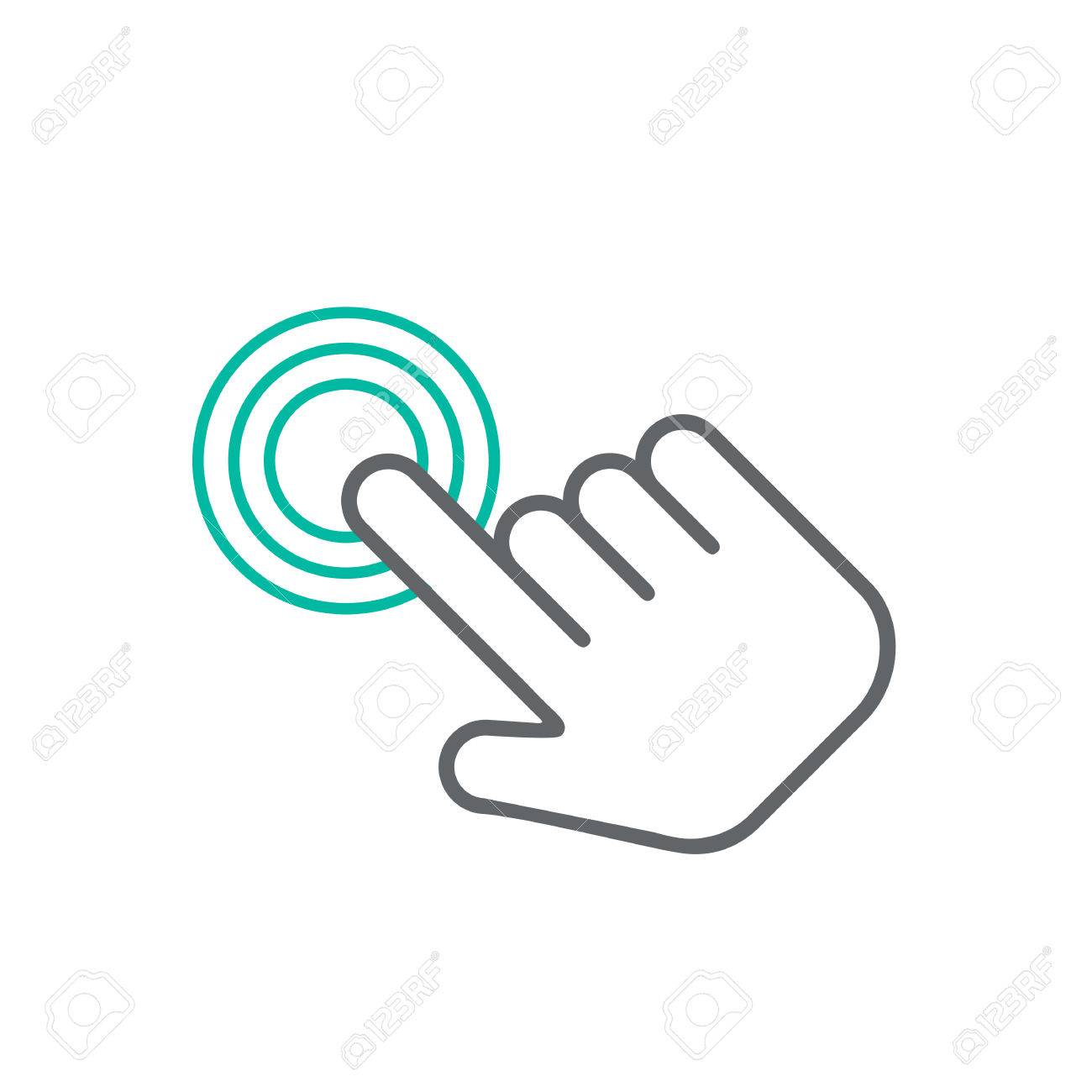 Click hand icon, click hand icon vector, flat click hand icon design. White click hand icon on white background - 53407923
