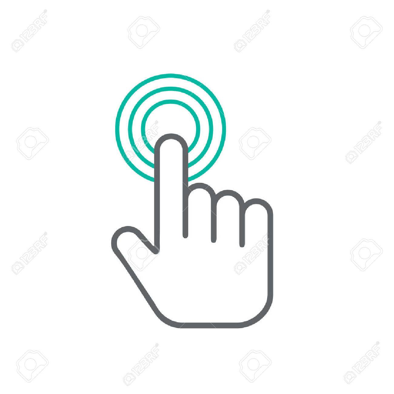 Click hand icon, click hand icon vector, flat click hand icon design. White click hand icon on white background - 53408214