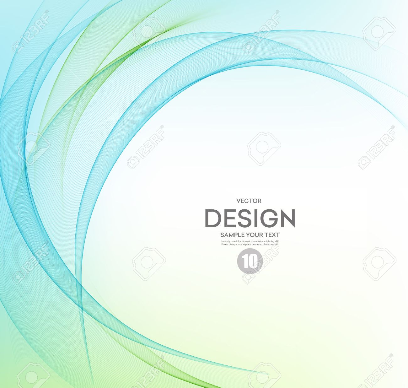Abstract vector background, blue and green waved lines. - 53408483