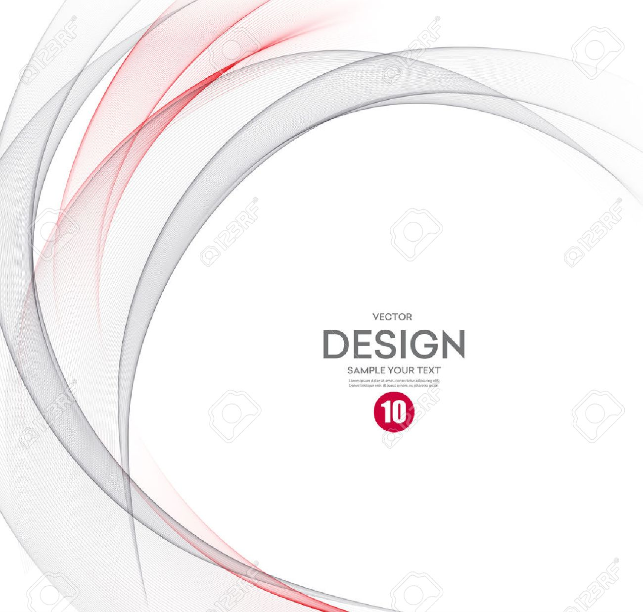 Abstract vector background, gray and red waved lines for brochure, website, flyer design. illustration eps10 - 54434247